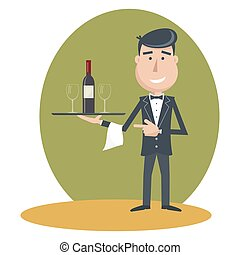 Waiter with wine bottle and wine glass - Waiter with wine...