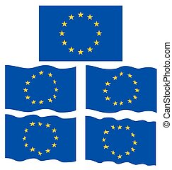 Flat and Waving Flag of Europe