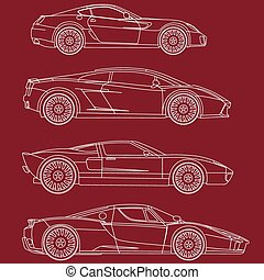 sport cars series set vector coloring