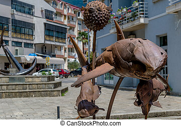 Tivat rusty metal fish monument - Monuments with shark,...