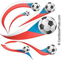 Czech Republic flag set with soccer ball isolated