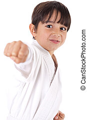 Karate boys giving punch against white background