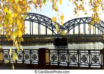 Bridge above Daugava in Riga - Bridge above Daugava and...