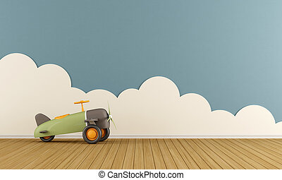 Empty playroom with toy plane - Empty playroom with toy...