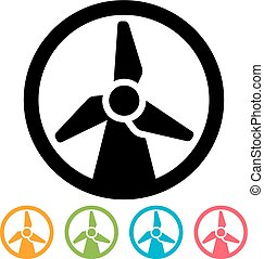 Wind turbine icon - Round wind turbine icon isolated on...