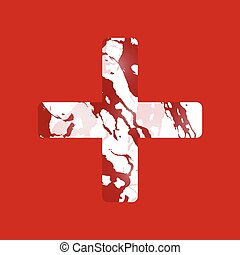 Red Cross - White cross on an abstract background