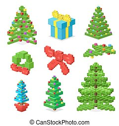 Christmas deoration symbold 3d isometric flat icons set...