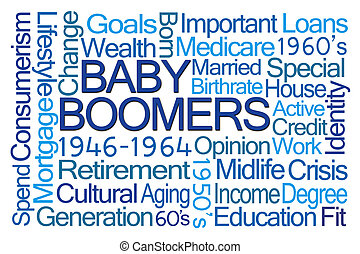 Baby Boomers Word Cloud on White Background
