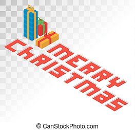 Colorful 3d isometric gift boxe ribbon vector. Gift boxe red...