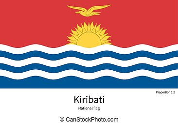 National flag of Kiribati with correct proportions, element,...