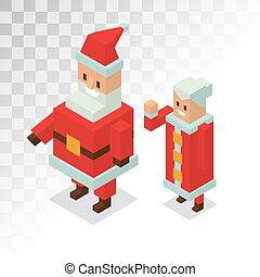 Santa and Missis Claus cartoot family vector - Santa Claus,...