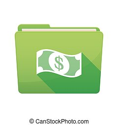 Long shadow  binder with  a dollar bank note