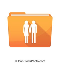 Long shadow binder with a heterosexual couple pictogram -...