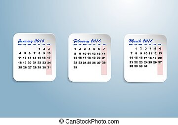Calendar for the first quarter of - Three white paper sheets...