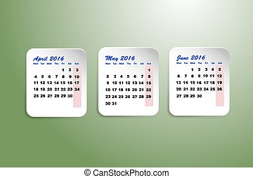 Calendar for the second quarter of - Three white paper...