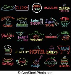 Icons of Neon Store Signs - A vector illustration of icon of...