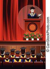 Graduating Man Giving a Speech