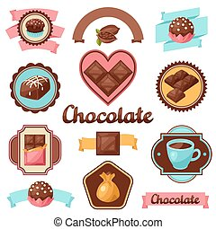 Chocolate set of badges and labels with various tasty...