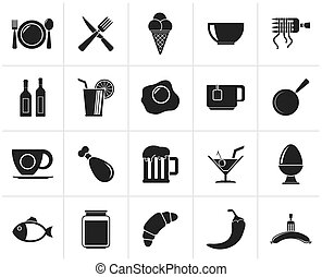 drink and restaurant icons - Black Food, drink and...