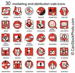 30 marketing and distribution web icons