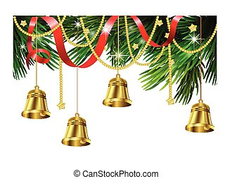 Jingle bell decorations - Gold bell decorations on a...
