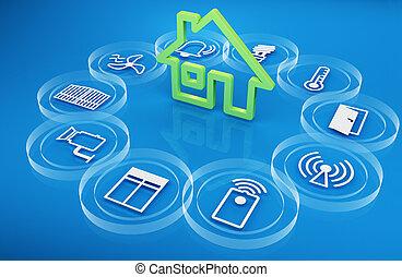 intelligent house - illustration of icons symbolizing the...