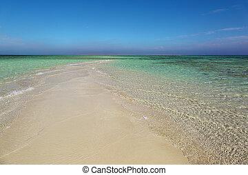 white sand spit - tropical beach