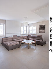 Beige angular sofa in luxury drawing room