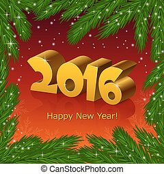 New year 2016 and a fir tree frame