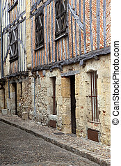 Old half-timbered houses in south-west France