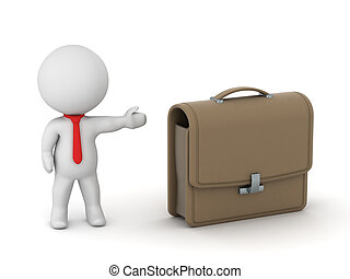 3D Character Showing Briefcase - 3D character with red tie...
