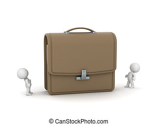 Two Small 3D Characters Looking Up at Large Briefcase - Two...