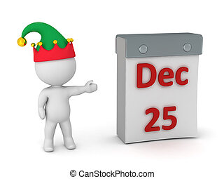 3D Character Showing Tare Off Calendar with December 25 - 3D...