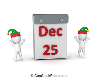 Tare Off Calendar with December 25 and Two Cheering 3D...