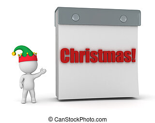 3D Character with Elf Hat Showing Tare Off Calendar with...
