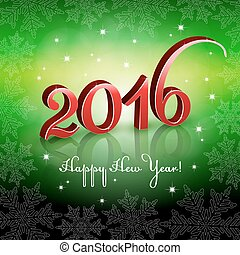 Red New Year 2016 on green background