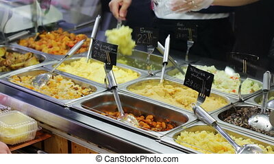 Ready To Eat Prepared Food At cafe - Food is sold on the...
