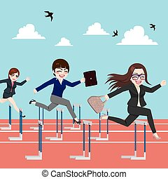 Businesswomen Competition Jumping Hurdle - Small group of...