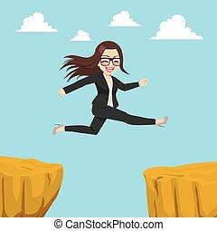 Businesswoman Cliff Gap - Illustration of happy...