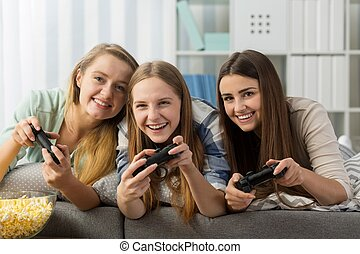 Girls spending leisure time together - Photo of smiling...