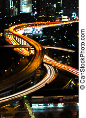 Abstract blur city expressway during twiligh