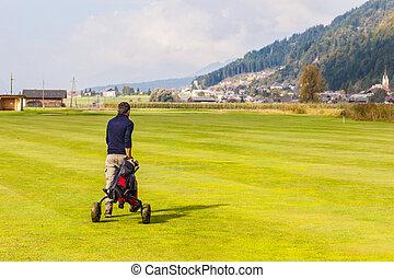 marche, sur, golf, cours,
