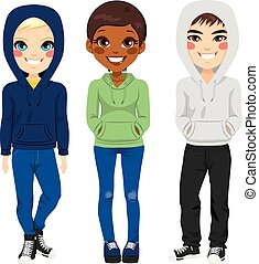 Young Teenagers Casual Clothes - Full body illustration of...