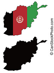 afghanistan - vector precise map and flag of afghanistan...