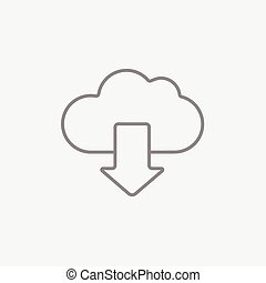 Cloud with arrow down line icon. - Cloud with arrow down...