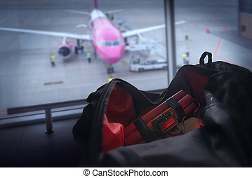 bomb and bag in airport