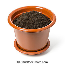 flower pot - brown flower pot isolated on white background....