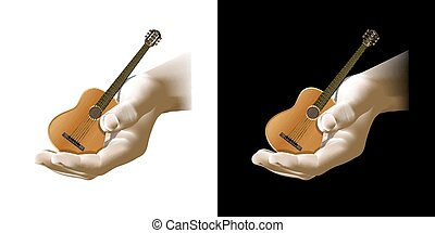 acoustic guitar in the hand - Vector acoustic guitar in...