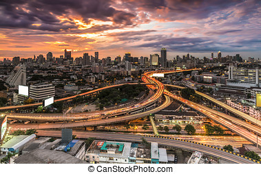 expressway - Panoramic building modern business district of...