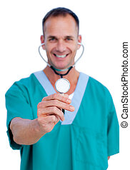 Portrait of a charming male doctor holding a stethoscope